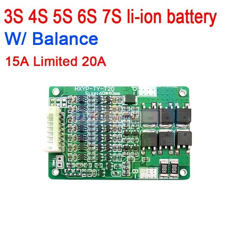 3S 4S 5S 6S 7S 15A W/ Balance Li-ion 18650 BMS PCM Lithium Battery Protection Board 3.7V 12V 16.8V 21V 25.2V 29.4V 20A