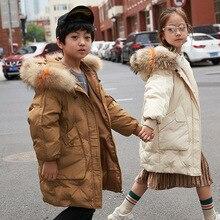 Детский Зимний пуховик года модная куртка для девочек теплая длинная одежда с меховым воротником пальто с капюшоном одежда для маленьких мальчиков