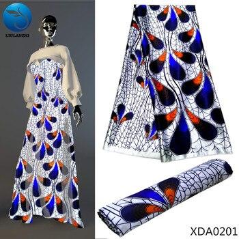 LIULANZHI White Printing satin fabric african print silk wax for imitated pink 2019 5yards XDA02