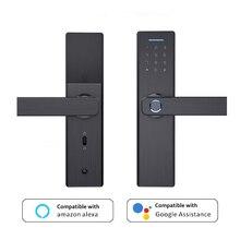 Электронный дверной замок с Wi-Fi и приложением, интеллектуальный биометрический дверной замок со сканером отпечатков пальцев, цифровой БЕСК...