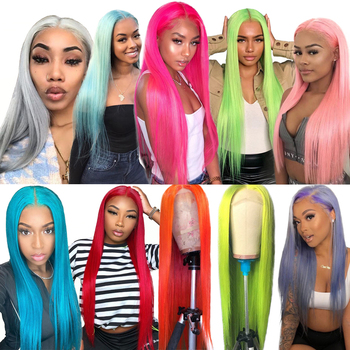 613 Pink Red Gray Green Purple Yellow HD Lace Front Human Hair Wigs Colored Wigs Brazilian Lace Frontal Remy Human Hair Wigs image
