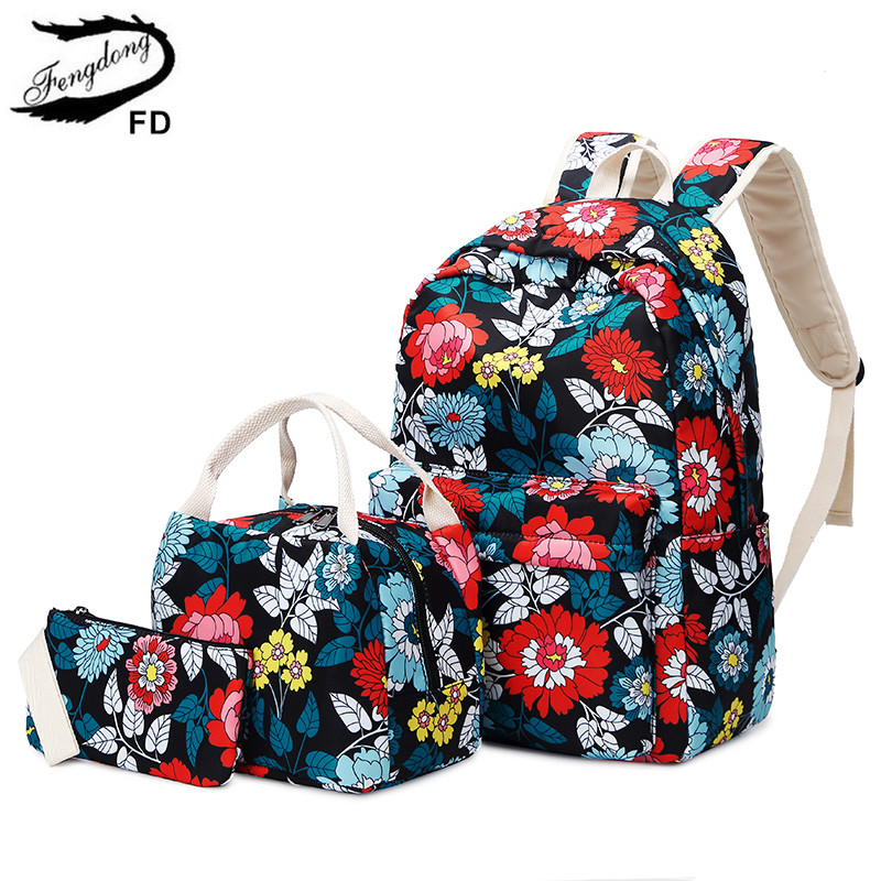 FengDong 3pcs/set Chinese Style Teen Girl School Backpack Flowers School Bags For Women Girls Floral Backpack Bookbag Pencil Bag