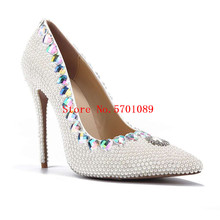 цена на Crystal Pointed Toe Wedding Shoes Bride Fashion Party Heels Pumps Woman White Pearl Thin Heel Shoes 11cm Genuine Leather Pumps