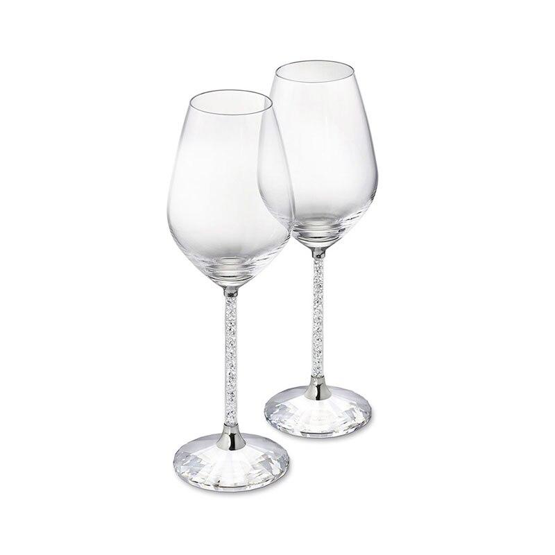 2 piezas boda copa de vino de vidrio cristalino de fiesta de lujo tostado de alta calidad de diamantes de imitación de cristal de diseño H1004