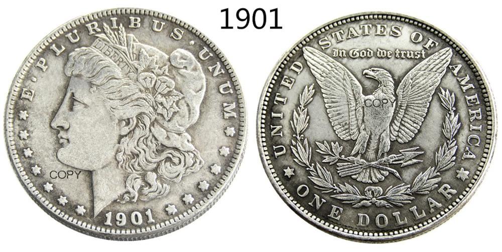 США 1901, Морган, искусственная монета, Посеребренная