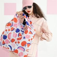 Grocery-Bag Large Tote Foldable Shoulder-Handbags-Pouch ECO Fruit-Print Big-Size