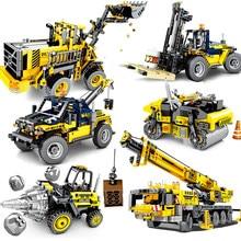 Blocs de Construction de ville, Bulldozer, Machine, mélangeur, camion, véhicule, briques de Construction, jouets éducatifs pour enfants, cadeaux