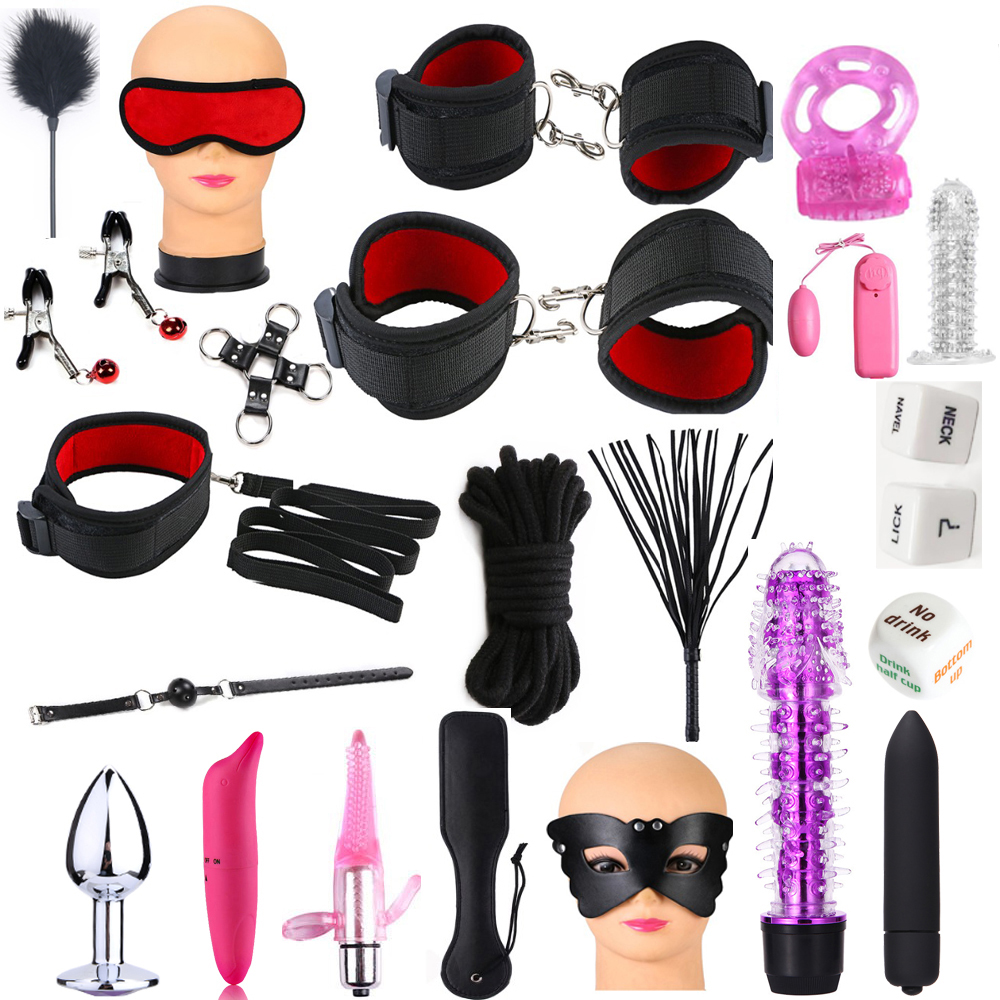 New Adult SM Games Handcuffs/Whip/Anal-Plug/SM Ball/Nipples Clip/Blindfold/Mouth Gag BDSM Set Bead Vibrator Erotic Sex Toys