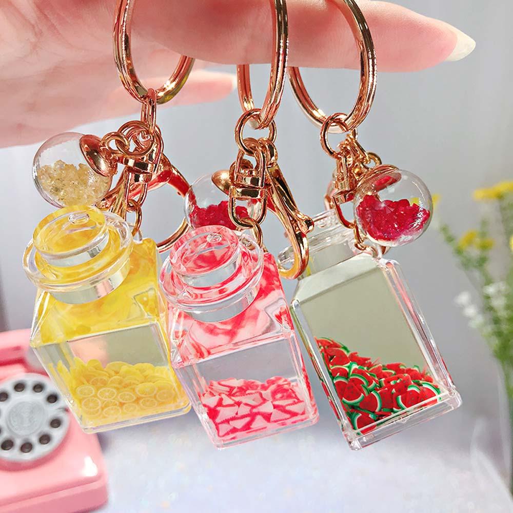 Creative Glitter Quicksand Key Chain Liquid Floating Fruit Keyring Keychain Bag Charm Pendant Gift For Women