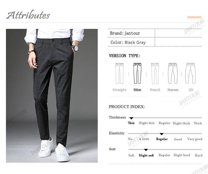 Jantour 2020 Spring New Casual Pants Men Slim Fit Plaid Fashion Gray black Trousers Male Brand Clothing business work pant 28-38 53