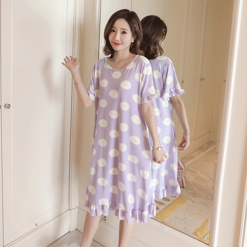 Nightgown Women's Summer Short-sleeved Korean-style Fresh Students Cute Sunflower Pajamas Long Spring And Autumn Days Thin Home