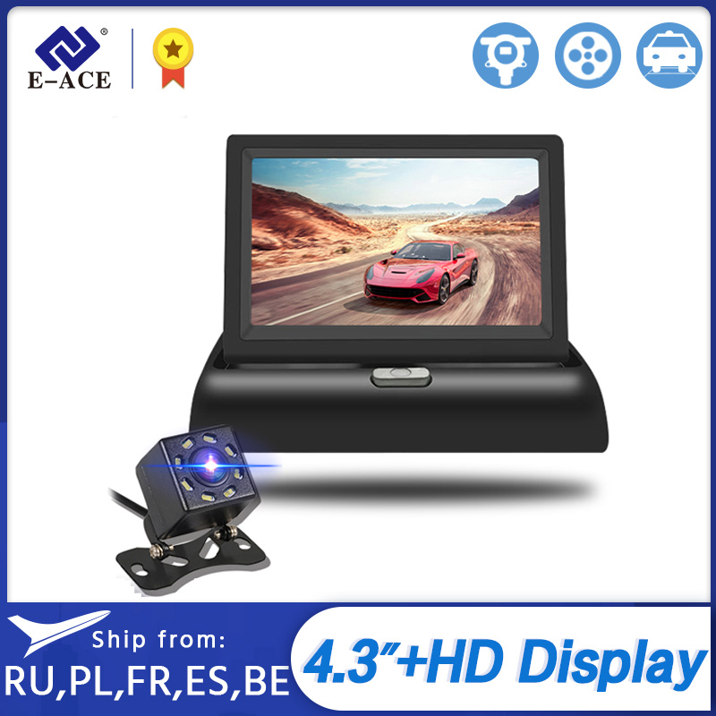 E-ACE J02 <font><b>4.3</b></font> <font><b>Inch</b></font> <font><b>TFT</b></font> LCD Car Monitor Foldable Display Reverse Camera Parking System for Car Rearview Monitors NTSC PAL image