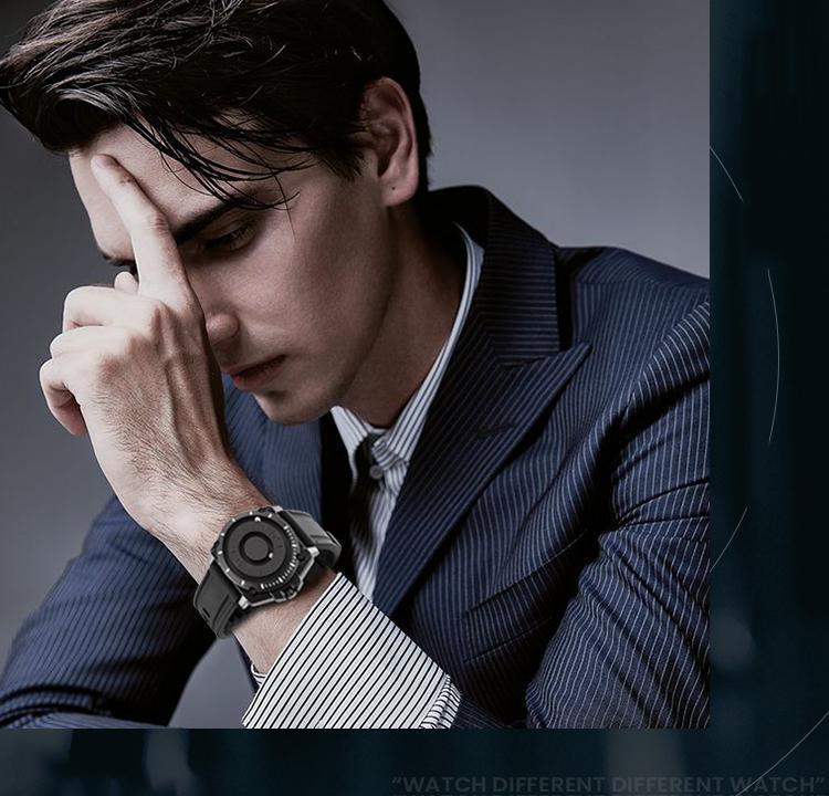 H0bb798d8a2924a7abb5901f355dfa280G Eutour magnetic watch parallel time and space black technology men's couple wristwatch women's wristwatch personality gel wristb