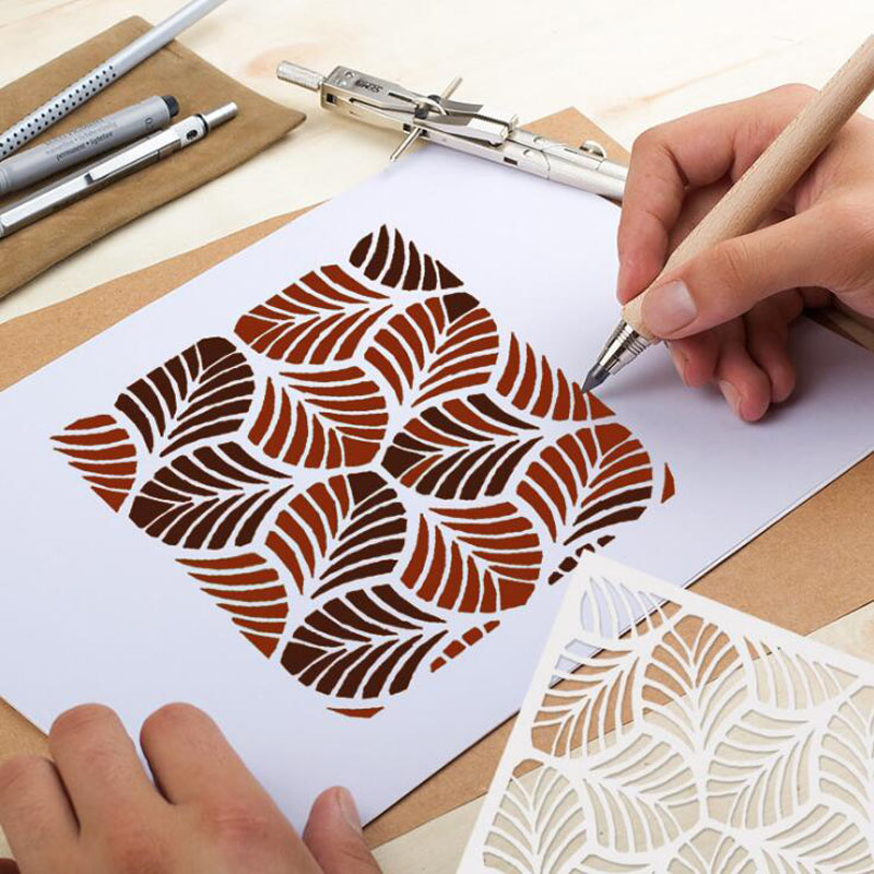 1pc Stencil Bullet Journal Openwork Leaf Painting Template Embossing Craft Accessories Sjablonen For Scrapbooking Album Reusable
