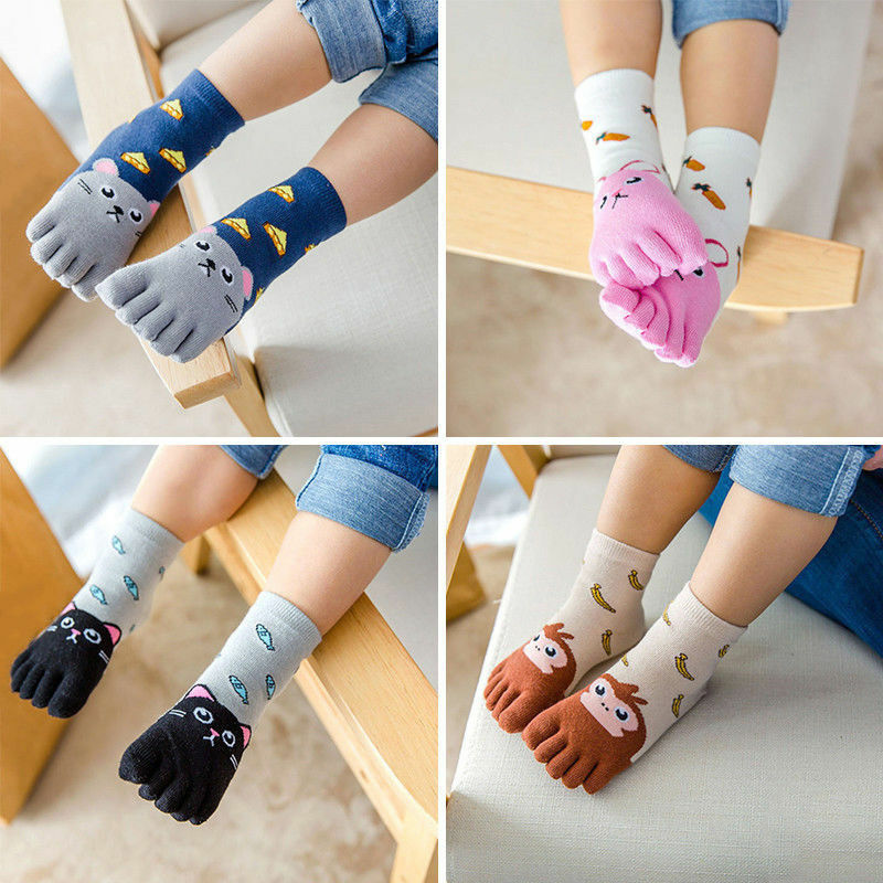 Pudcoco Cute Kids Five Fingers Socks Cotton Fashion Non Slip Pilates Cute Animal Toe Socks Print Children Clothing