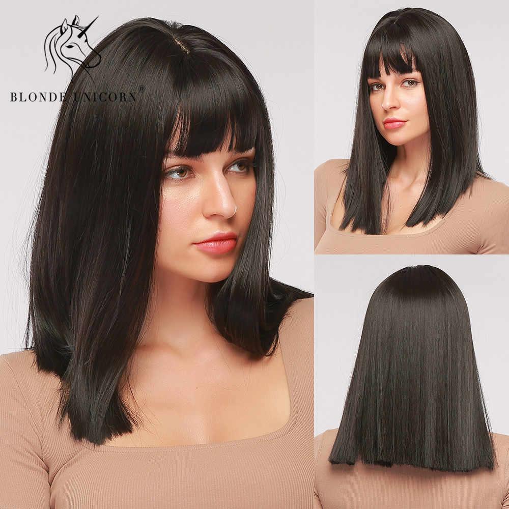 Blond jednorożec syntetyczny średni długi prosty czarny peruka z grzywką dla kobiet Cosplay codzienne peruki żaroodporne sztuczne włosy
