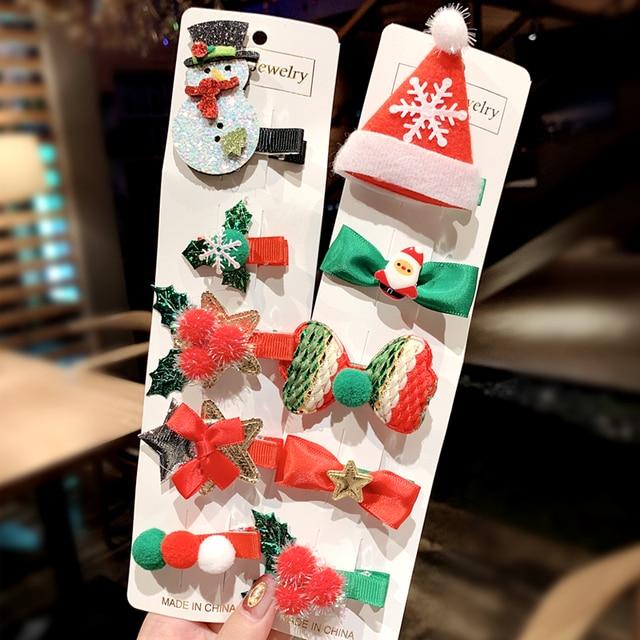 5 Pieces Set Merry Christmas Girls Cute Santa Claus Snowman Hairpin Hair Clip 1