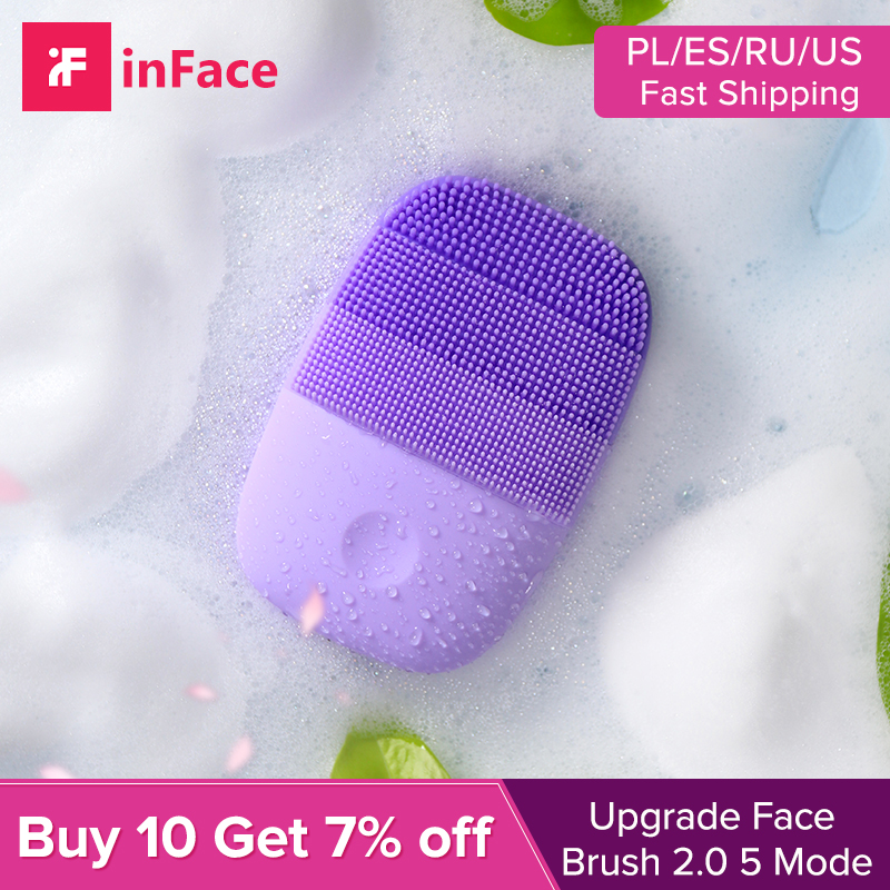 Inface Upgraded Face Cleansing Brush Blackhead Pore Cleaner Ultrasound Electric Facial Brush 90sec Timing Face Skin Care Tools