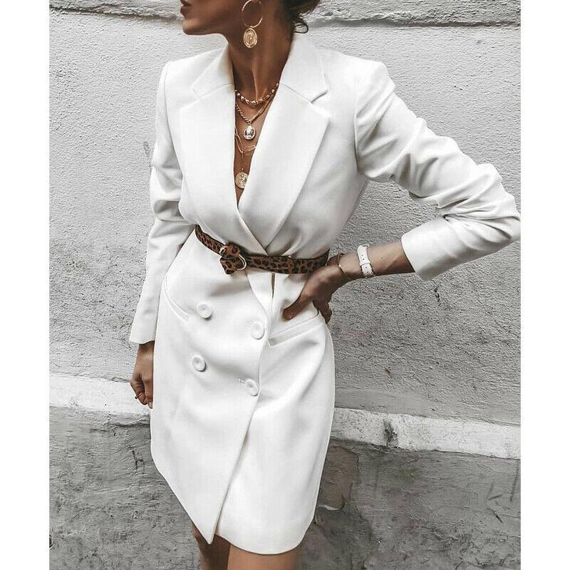Women's Jacket Fashion Blazers Dress Ladies OL V Neck Long Sleeve Double Breasted Blazer Causal Mini Dress NO Belt 5
