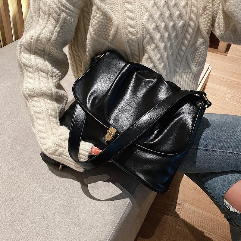 Bolso de mano plisado Vintage 2019 nuevo bolso de hombro de alta capacidad de cuero de PU de alta calidad para mujer Bolso para mujer 2019 nuevo estilo coreano bolso de mano de moda bolso de lona bolso bandolera