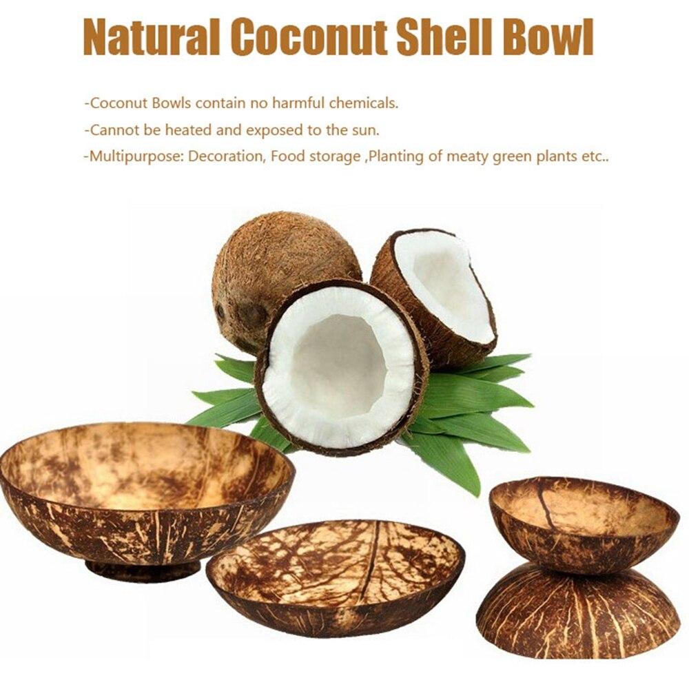 Bol en noix de coco naturel salade de fruits   Bol de riz à nouilles, artisanat décoration en coquille de noix de coco en bois