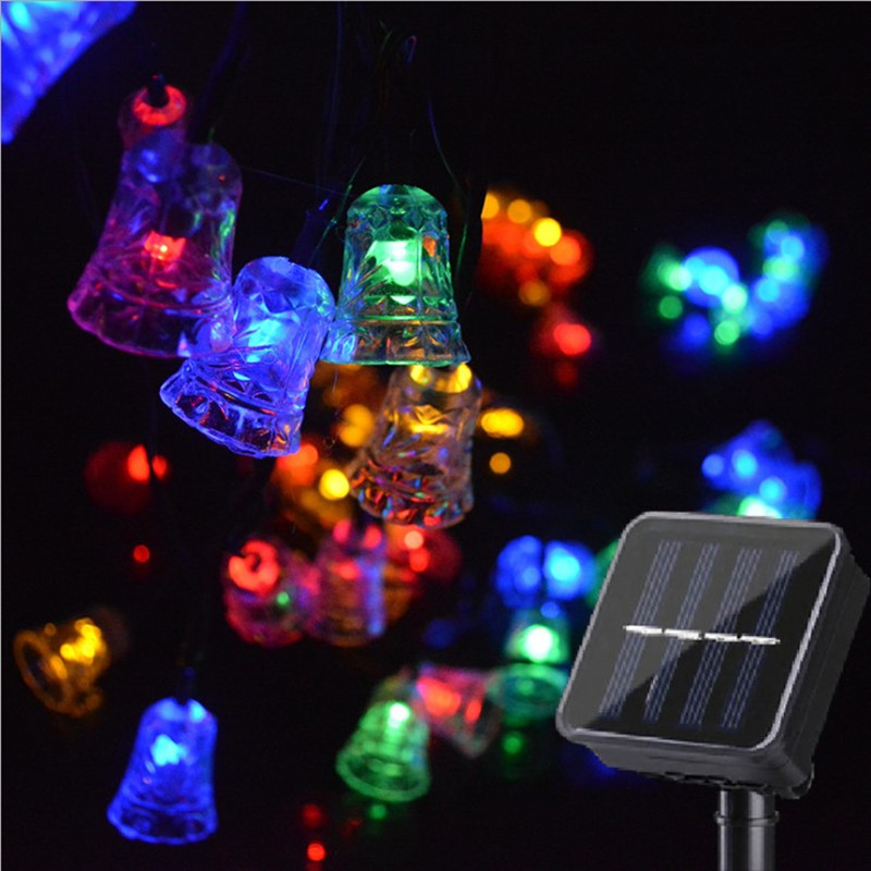 Garden Solar Power LED Twinkle Bell Lights String Christmas Light Outdoor Waterproof  Garland Wedding Holiday Party Xmas Decor