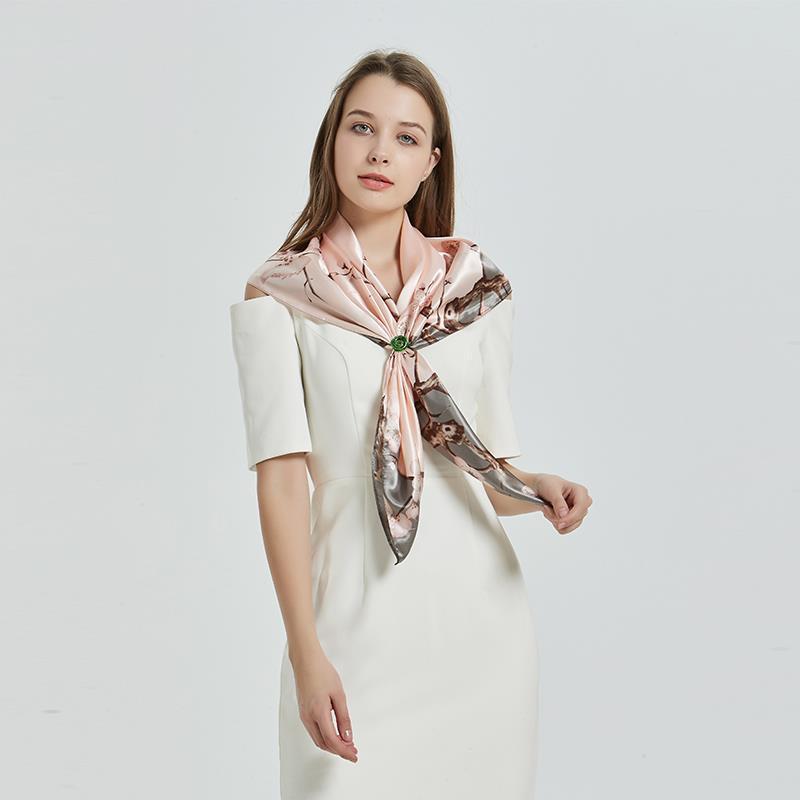 2019 Fashion Floral Print Women Hijab Scarf Kerchief Silk Satin Head Scarfs Female 90*90cm Square Shawls and Wraps Neck Scarves|Women