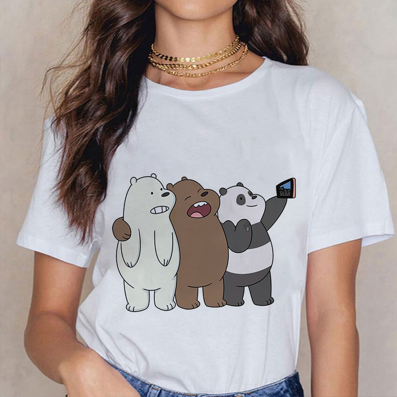 Kawaii Summer Cute Bare Bears Cartoon Print Fashion T Shirts Women Clothes Harajuku Casual T-shirts Fun Streetwear Tops Femme