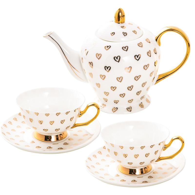 High Quality Gold Hearts Design Ceramic Fine Bone China Tea Sets  & Coffee Cup Sets