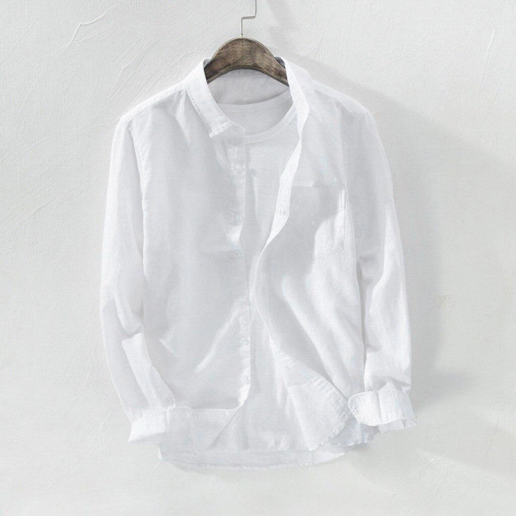 2021 летние мужские мешковатые брюки для девочек одноцветное из хлопка и льна длинный рукав; пуговицы с карманами размера плюс M-3xl гавайская р...