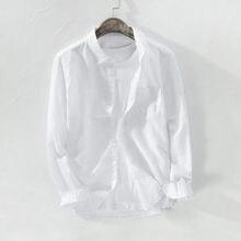 2021 dos homens de verão baggy sólido algodão linho manga longa botão bolso plus size M-3xl camisa havaiana masculina streetwear