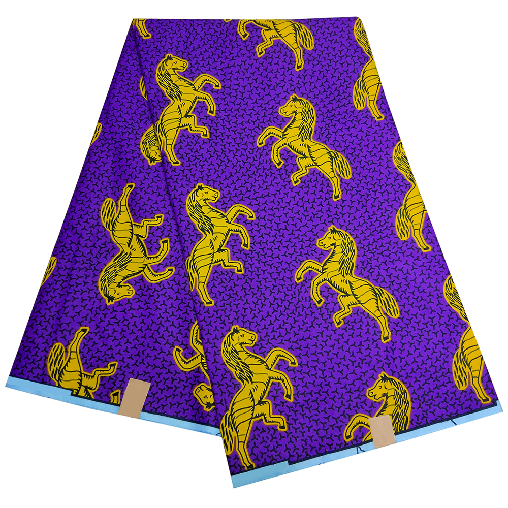 2019 New African Yellow Horses Print Purple Fabric  Wax Fabric