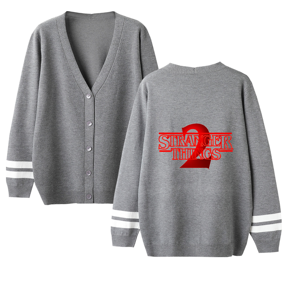 Stranger Things Cardigan Sweater Men/women New Arrivals Fashion V-neck Sweater Stranger Things Cardigan Sweater Gray Casual Top