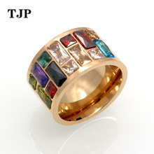 Crystal Ring For Women anel 316L Stainless Steel Female Rainbow Color Stone Ring anillo Fashion Jewelry Wedding Rings