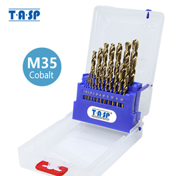 TASP 19pcs HSS M35 5% Cobalt Drill Bit Set 1.0~10mm for Stainless Steel Metal & Wood with Storage Box Power Tools Accessories