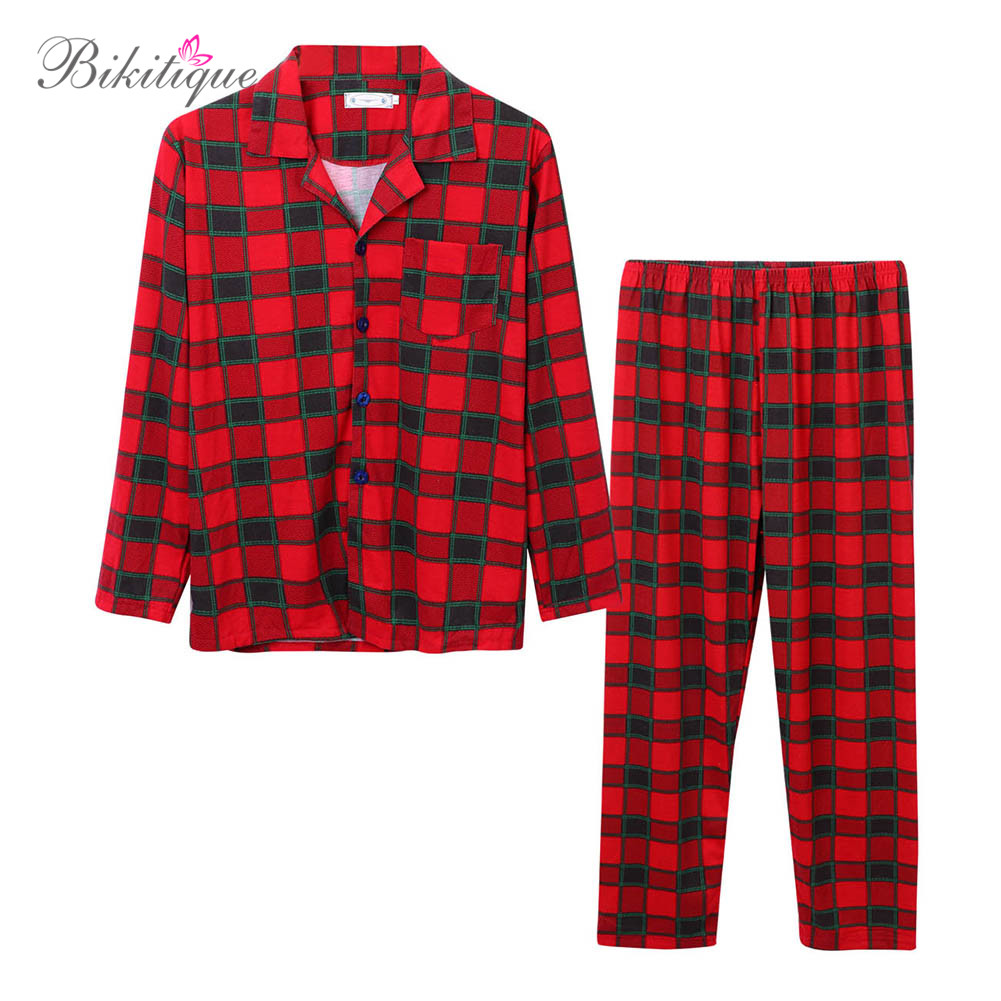 2019 Fashion Men Pajamas Set Cute Plaid Christmas Home Wear Sleepwear Winter Long Sleeve Shirts + Long Pants Pajamas Set Autumn