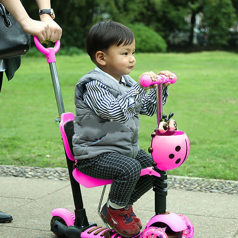 3 In 1 Mini Kick Wheel Scooter Flashing LED Wheels Tilt Push Seat Kick Scooter Children Foot HomeParty Gift