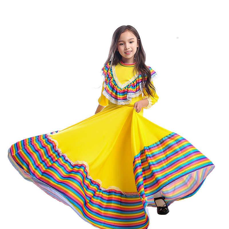 子供の女の子フラメンコダンスパーティードレスフォーマルドレスハロウィーンのカーニバル子供ステージパフォーマンスメキシコスペイン王女のコスプレ衣装