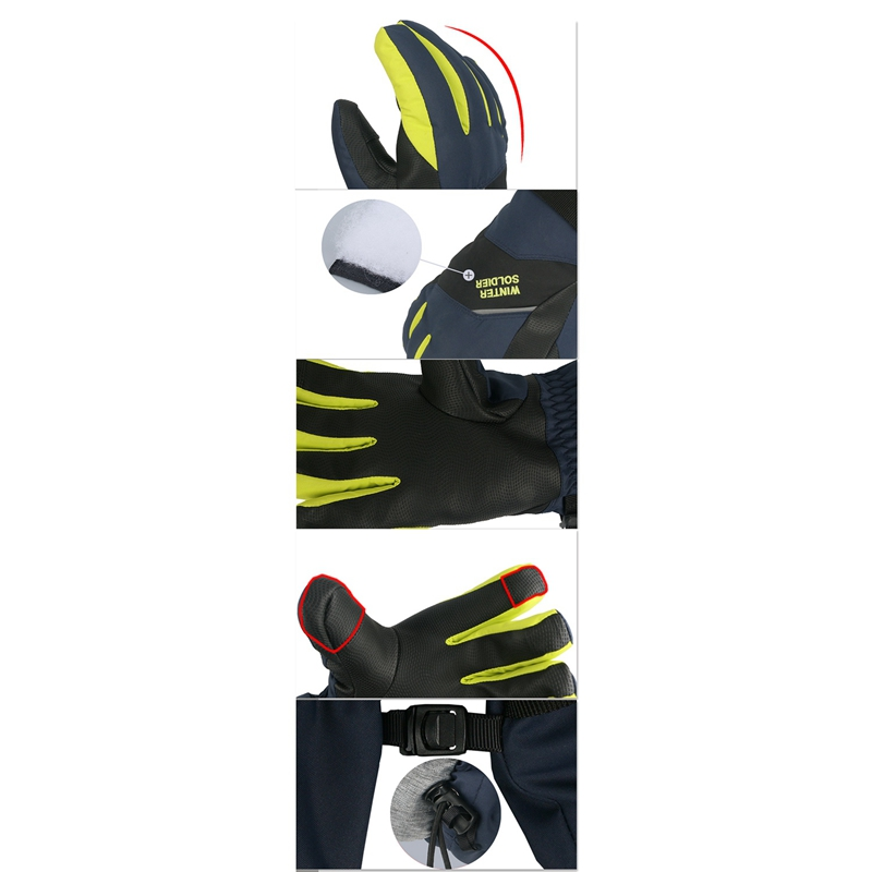 Luvas de esqui estendidas anti-deslizamento tela de