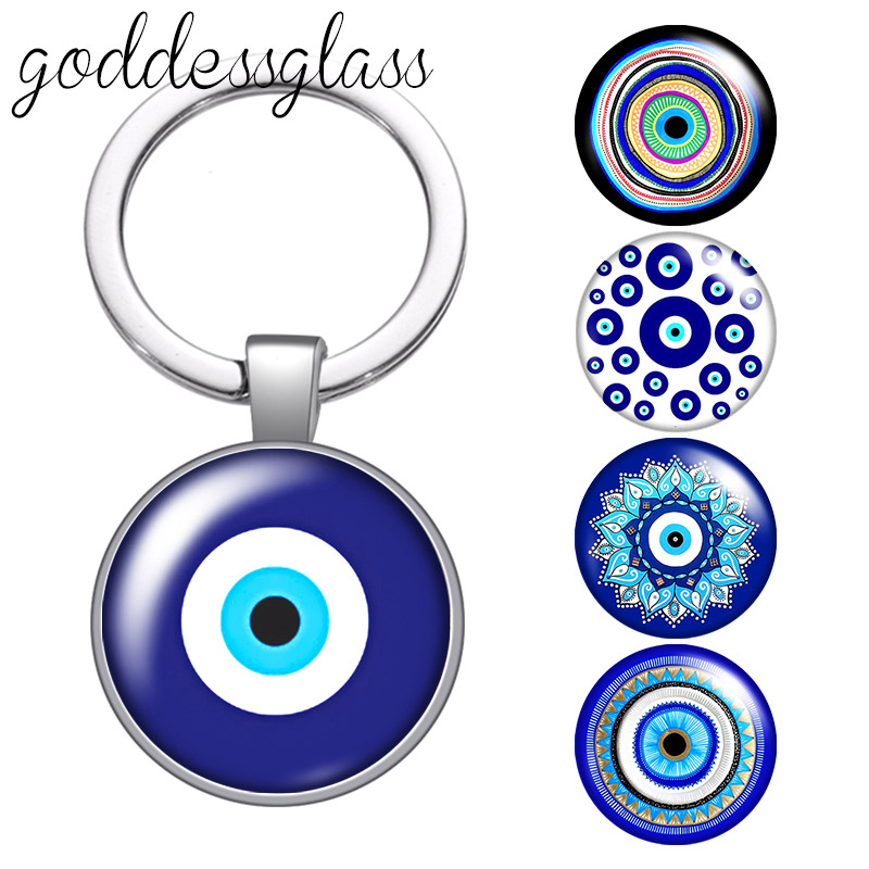 Beauty Blue Evil Eye religious Photo Round glass cabochon keychain Bag Car key chain Ring Holder Charms keychains for gift