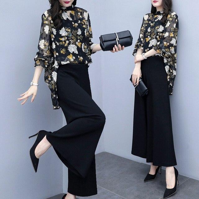Women Chiffon Pant Suits Elegant Formal Office Lady Business Work Pantsuits Floral Print Blouse Top Wide Leg Pants Two Piece Set