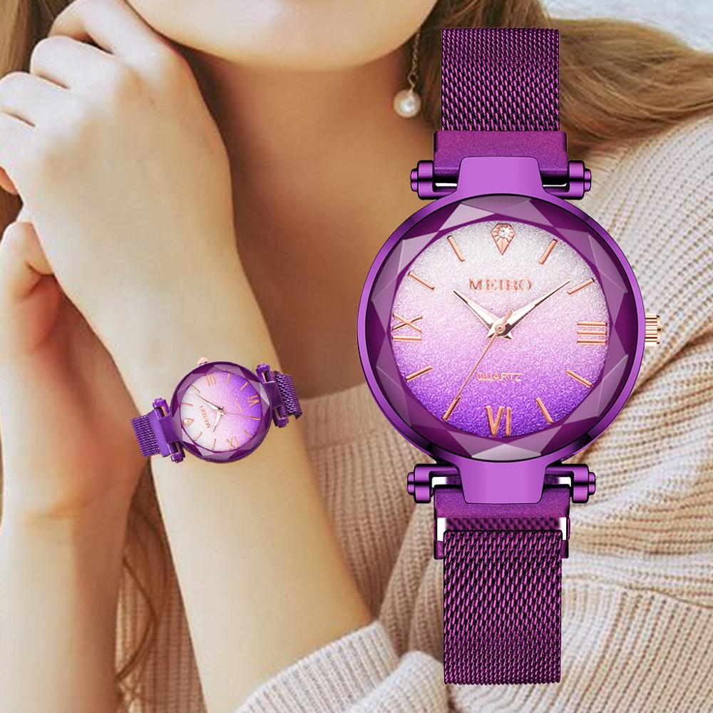 Luxury Women Watches Fashion Gradient Color Dial Elegant Magnet Buckle Purple Ladies Wristwatch New Starry Sky Roman Gift Clock