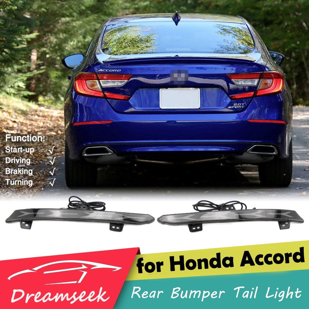 4Y Rear Bumper Tail Light for Honda Accord 2018 2019 2020 LED Reflector Brake Lamp w/ Dynamic Sequential Turn Signal Smoke Lens