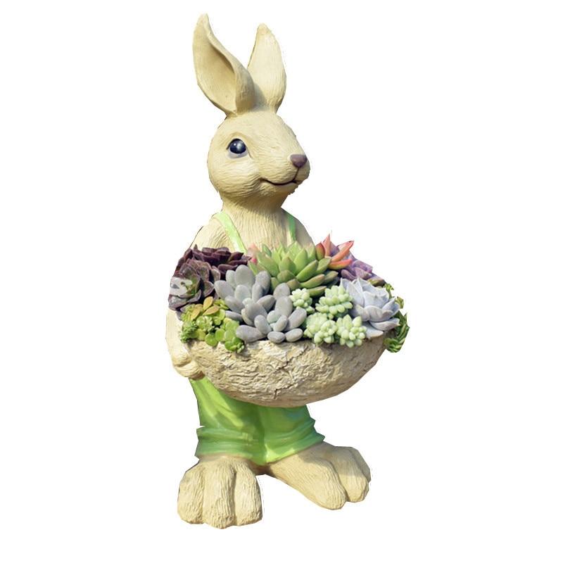 Outdoor Garden Cartoon Rabbit Fleshy Flower Pot Creative American Country Floor Home Garden Landscape Decoration M2364