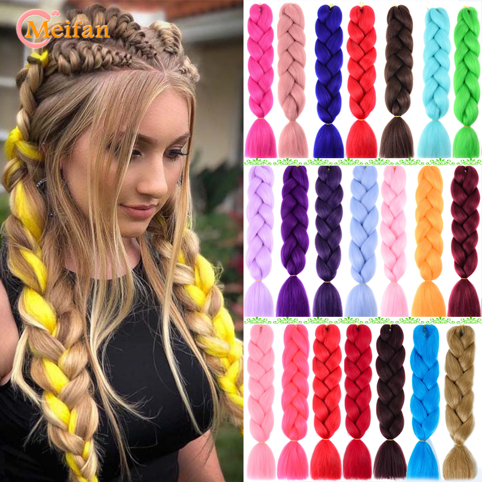 MEIFAN Expression Braiding Hair Extensions Jumbo Crochet Braids 24inch 100g Color Strands Synthetic African Fake Hair Headwear
