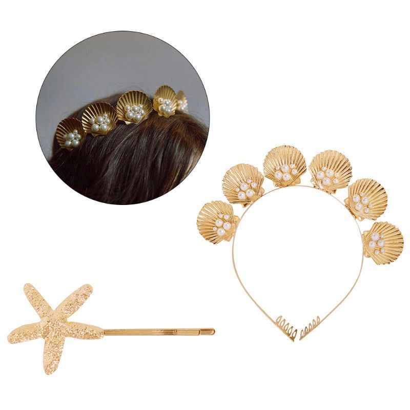 Marine Style Golden Shell Tiara Crown with Comb Faux Pearl Beaded Wedding Bridal Hair Hoop Women Girl Vacation Styling Bobby Pin