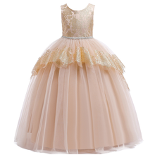 Flower Girls Long Princess Dress Short Sleeve Wedding Bridesmaid Dresses for Kids Tulle Ball Gown Dress for Girls Photography