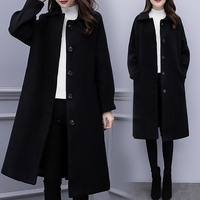 2019 Spring Autumn Women's Wool Coat Fashion Long Woolen Coat Slim Type Female Winter Quality Wool Jackets Female Outw Elegant