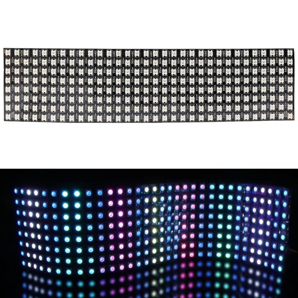 1 pcs 8x32 Pixel WS2812B LED Heatsink chip Digital Individually addressable led module Panel Flexible DIY Display Board DC5V