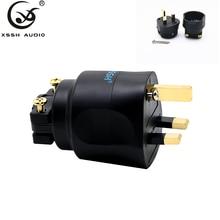 """1 шт. 2 шт. XSSH аудио Hi fi """"сделай сам"""" Hi end акустический звук Системы переменного тока RU Электрический Разъем 3 контактный Британский штепсельной вилки предохранитель разъем"""